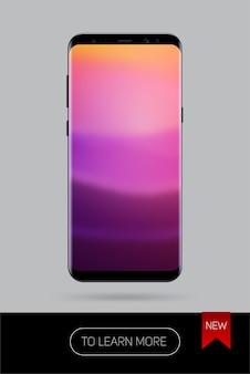 Realistyczny smartfon, nowa wersja nowoczesnego telefonu komórkowego na kolor czarny na szarym tle, realistyczny ilustracyjny telefon.