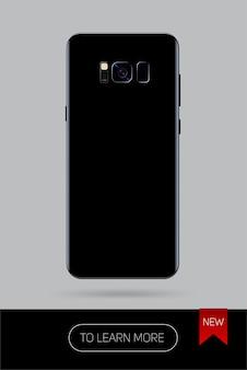 Realistyczny smartfon, nowa wersja nowoczesnego telefonu komórkowego na kolor czarny na szarym tle, tył