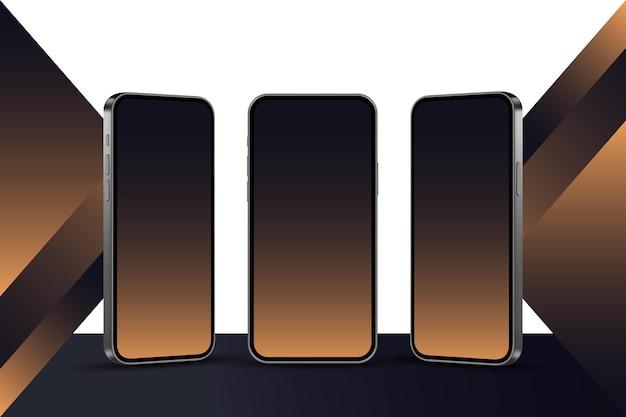 Realistyczny smartfon w różnych widokach premium wektor