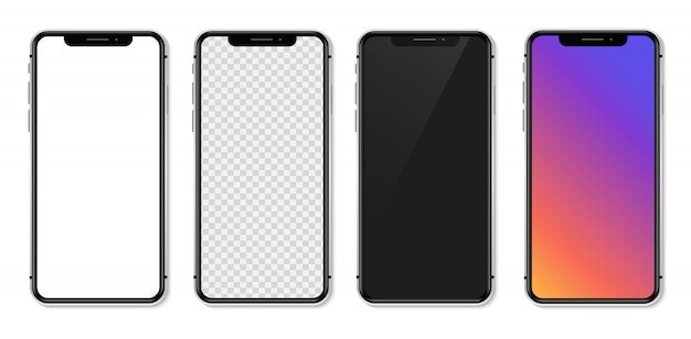 Realistyczny smartfon z pustym białym ekranem. ilustracja