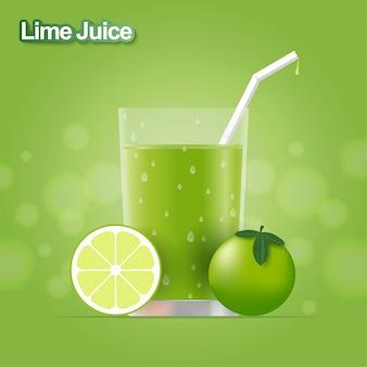 Realistyczny sok z limonki. projekt wektor
