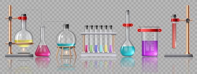 Realistyczny sprzęt laboratoryjny. szklane rurki, kolby, palnik i zlewki z chemikaliami na uchwytach. eksperyment laboratoryjny chemii wektor zestaw. eksperyment badawczy laboratoryjny, sprzęt do testowania szkła