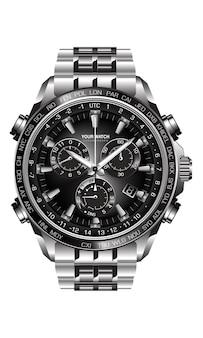 Realistyczny srebrny czarny stalowy zegarek chronograf na białym tle projekt luksusu dla mężczyzn.