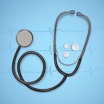 Realistyczny stetoskop medyczny. sprzęt medyczny stetoskop, ilustracja opieki zdrowotnej.