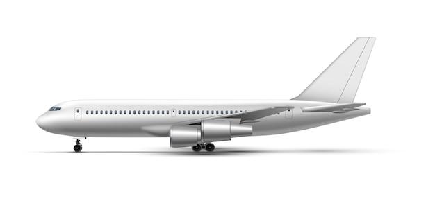 Realistyczny stojący samolot, samolot odrzutowy lub widok z boku samolotu. szczegółowy samolot pasażerski. realistyczny zestaw makiety samolotu. symbol podróży, turystyki lub transportu ładunków lotniczych.