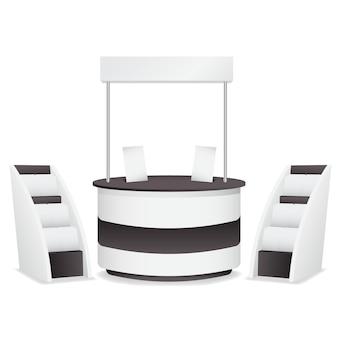 Realistyczny stół promocyjny z stojakami na gazety