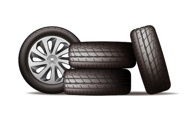 Realistyczny stos nowych czarnych kół samochodowych, cztery opony