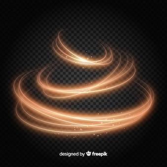 Realistyczny styl błyszczący złoty spirala