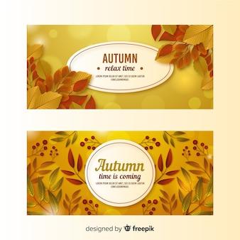 Realistyczny styl jesieni banery szablon