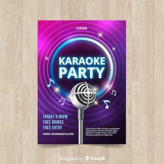Realistyczny styl plakatu karaoke