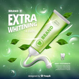 Realistyczny styl reklamy świeżej pasty do zębów