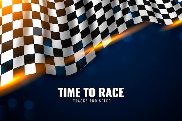 Realistyczny styl wyścigów w tle flagi z szachownicą