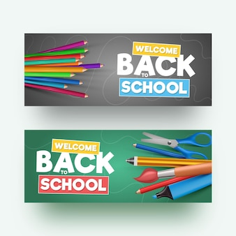Realistyczny styl z powrotem do banerów szkolnych