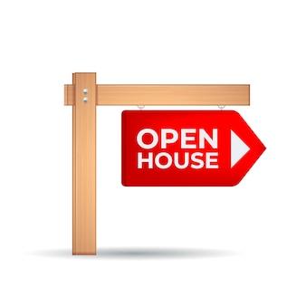 Realistyczny styl znak otwarty dom