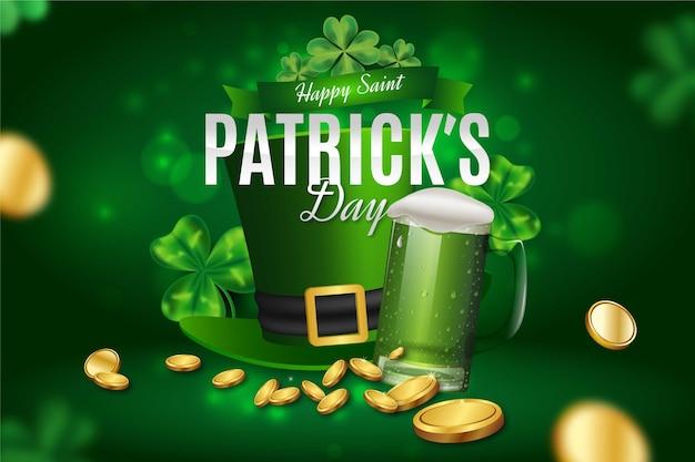Realistyczny św. dzień patryka z zielonym kapeluszem krasnoludek