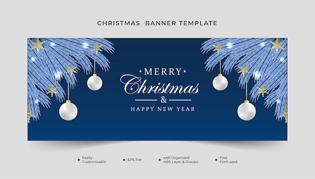 Realistyczny świąteczny baner płatki śniegu i biała kula świąteczne światło