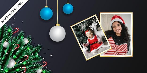 Realistyczny świąteczny baner z ramką na zdjęcia zielony liść złoty obramowanie i bombki świąteczne cukierki śniegi