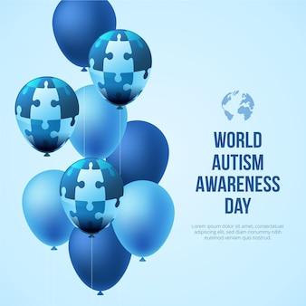 Realistyczny światowy dzień świadomości autyzmu z puzzlami