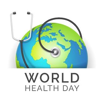 Realistyczny światowy dzień zdrowia z ziemią i stetoskopem