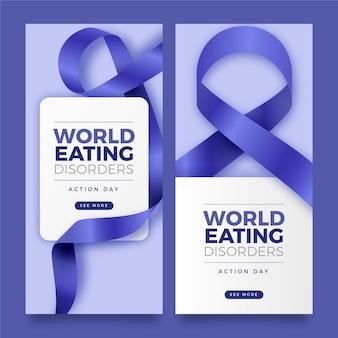 Realistyczny światowy zestaw banerów dnia akcji zaburzeń odżywiania
