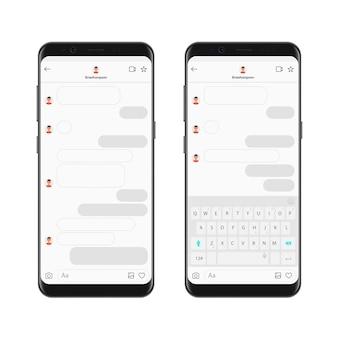 Realistyczny szablon aplikacji komunikatora na czacie na smartfony z bąbelkami czatu i klawiaturą. kompozytor dialogów makiet