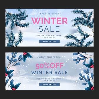 Realistyczny szablon banery sprzedaży zimowej
