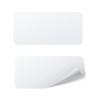 Realistyczny szablon białej prostokątnej naklejki samoprzylepnej z zakrzywionym brzegiem