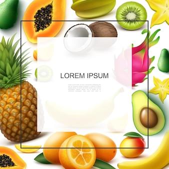 Realistyczny szablon egzotycznych owoców z ramką na tekst ananas papaja banan kiwi mango kokos kumkwat awokado karambola smocze owoce
