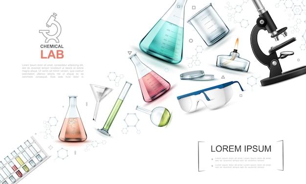 Realistyczny szablon elementów badań laboratoryjnych ze szklanymi kolbami probówki palnik lampy spirytusowej