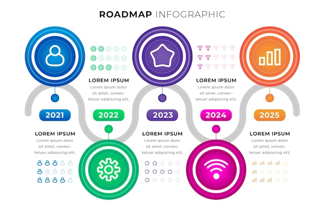 Realistyczny szablon infografiki mapy drogowej