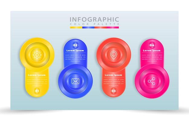 Realistyczny szablon infografiki procesu z 4 krokami