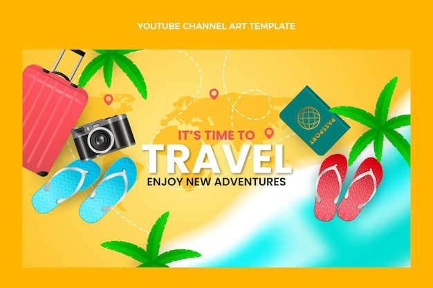Realistyczny szablon kanału podróży na youtube