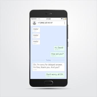Realistyczny szablon komunikatora wewnątrz bardzo szczegółowego realistycznego telefonu. media społecznościowe, koncepcja szablon sieci społecznej. okno czatu i messegera. ilustracji wektorowych.