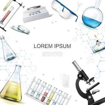Realistyczny szablon laboratorium chemicznego z mikroskopem wagi kolby probówki lampa spirytusowa palnik okulary laboratoryjne