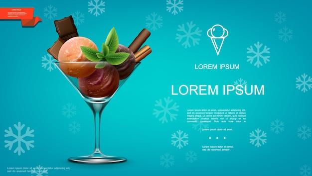 Realistyczny szablon lodów z kolorowymi gałkami lodów o różnych smakach batony czekoladowe liście mięty ciastko w szkle na ilustracji tle niebieskich płatków śniegu