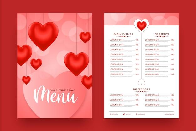 Realistyczny szablon menu walentynki