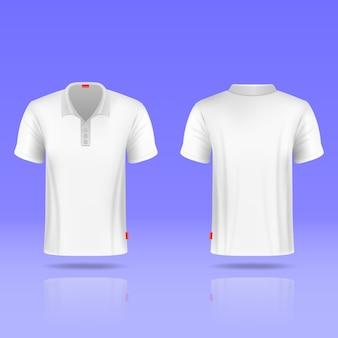 Realistyczny szablon męski biały t-shirt