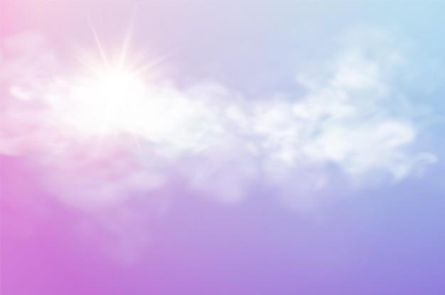 Realistyczny szablon nieba z przezroczystą chmurą i promieniem słonecznym
