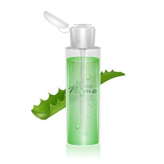 Realistyczny szablon pakietu kosmetycznego z ekstraktem z aloesu, ilustracja 3d