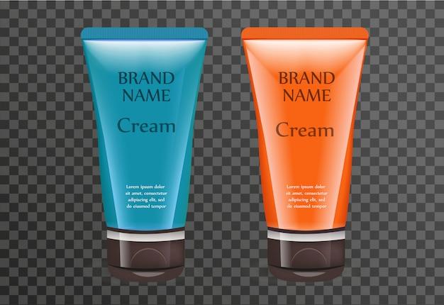 Realistyczny szablon pakietu kremów do opalania dla twojego. butelka produktu z filtrem przeciwsłonecznym z przezroczystym tłem. flakon kosmetyczny. ilustracja.