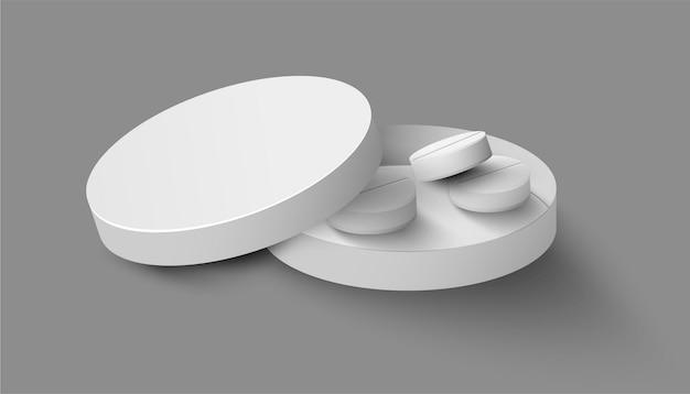 Realistyczny szablon pakietu medycznego z pigułkami wewnątrz pudełka na szaro