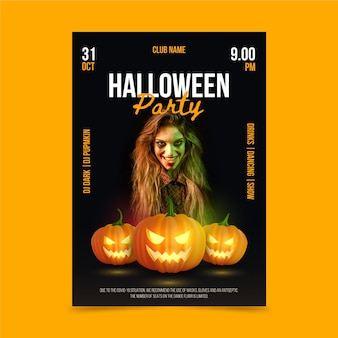 Realistyczny szablon pionowego plakatu halloweenowego ze zdjęciem