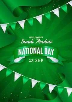 Realistyczny szablon pionowego plakatu narodowego saudyjskiego