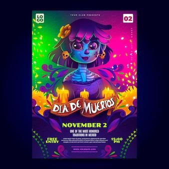 Realistyczny szablon plakatu dia de muertos