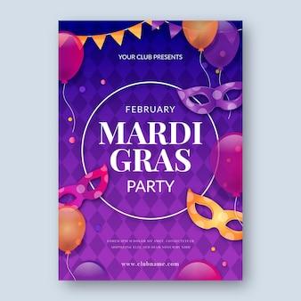 Realistyczny szablon plakatu mardi gras
