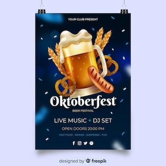 Realistyczny szablon plakatu oktoberfest