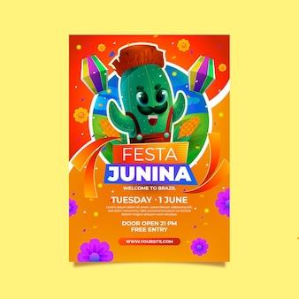 Realistyczny szablon plakatu pionowego festa junina