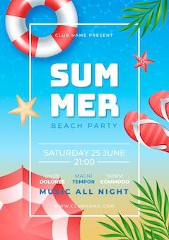 Realistyczny szablon plakatu pionowego letniej imprezy