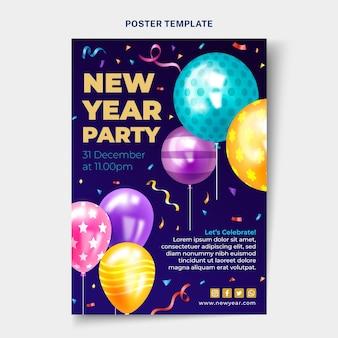 Realistyczny szablon plakatu pionowego nowego roku