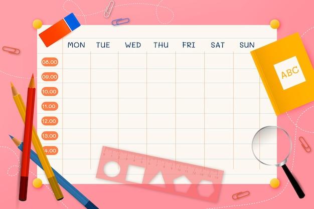 Realistyczny szablon planu lekcji z powrotem do szkoły